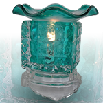 Glass Cube Oil Warmer - Green