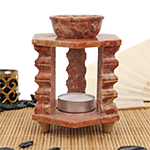 Soapstone Temple Warmer- 3 Pillar Hexagon