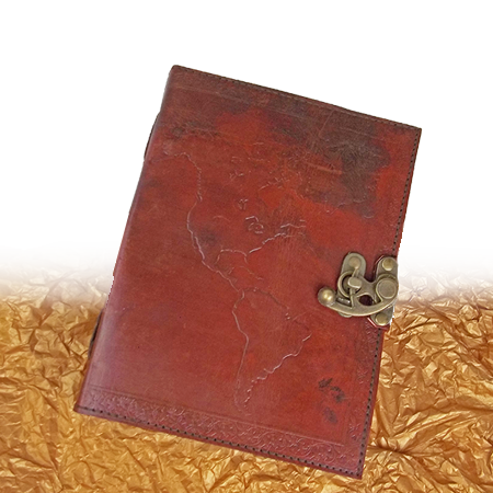 Leather Journal- World Map